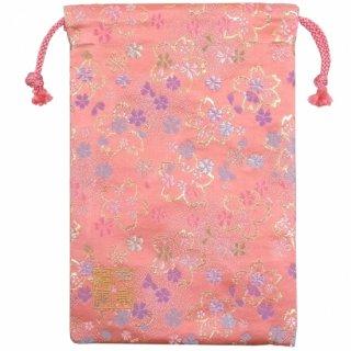 【真鍮ベル付き】千糸繍院 西陣織 金襴 巾着袋(裏地付き) 桃金桜 Mサイズ