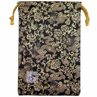 【真鍮ベル付き】千糸繍院 西陣織 金襴 巾着袋(裏地付き) 黒金龍 Mサイズ