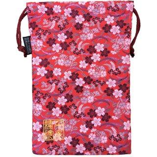【真鍮ベル付き】千糸繍院 西陣織 金襴 巾着袋(裏地付き) 黒紅白桜/朱 Lサイズ