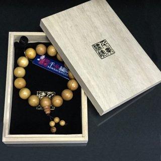 千糸繍院 真正印度(インド)白檀(ビャクダン/サンダルウッド)特級品ブレスレット/腕輪念珠・数珠 15mm丸珠Lサイズ