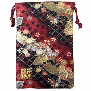 【真鍮ベル付き】千糸繍院 西陣織 金襴 巾着袋(裏地付き) 紅扇桜 Mサイズ