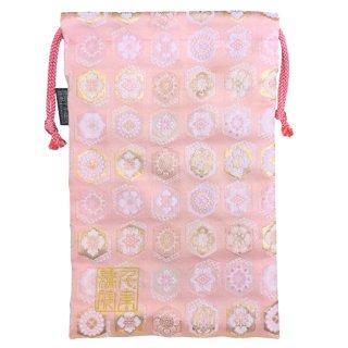 【真鍮ベル付き】千糸繍院 西陣織 金襴 巾着袋(裏地付き) 六角花紋/桃 Lサイズ