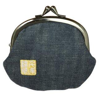 千糸繍院 がま口 3.5寸丸型財布/小銭入れ(裏地付き) デニム