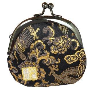 千糸繍院 西陣織 金襴 がま口 2.5寸丸型財布/小銭入れ(裏地付き) 黒金龍