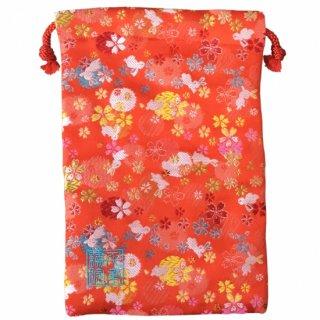 【真鍮ベル付き】千糸繍院 西陣織 金襴 巾着袋(裏地付き) 朱小兎 Mサイズ