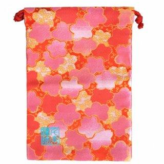 【真鍮ベル付き】千糸繍院 西陣織 金襴 巾着袋(裏地付き) 朱桃桜 Mサイズ