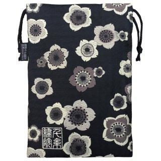 【真鍮ベル付き】千糸繍院 西陣織 金襴 巾着袋(裏地付き) 薄墨桜/黒千鳥 Lサイズ