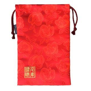 【真鍮ベル付き】千糸繍院 西陣織 金襴 巾着袋(裏地付き) 薔薇浪漫/紅 Lサイズ