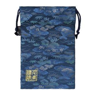 【真鍮ベル付き】千糸繍院 西陣織 金襴 巾着袋(裏地付き) 露芝松/藍 Lサイズ