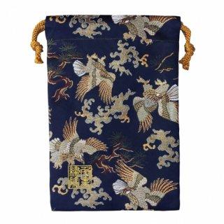 【真鍮ベル付き】千糸繍院 西陣織 金襴 巾着袋(裏地付き) 紺鷲松 Mサイズ