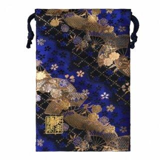 【真鍮ベル付き】千糸繍院 西陣織 金襴 巾着袋(裏地付き) 青藍扇桜 Mサイズ