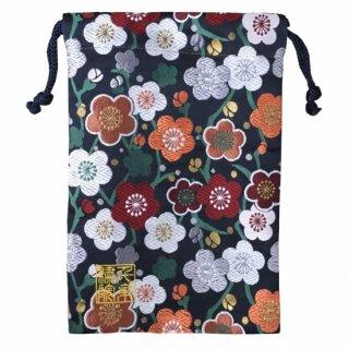 【真鍮ベル付き】千糸繍院 西陣織 金襴 巾着袋(裏地付き) 藍梅爛漫 Mサイズ