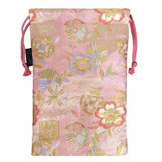 【真鍮ベル付き】千糸繍院 西陣織 金襴 巾着袋(裏地付き) 清流毬桜/桃 Lサイズ