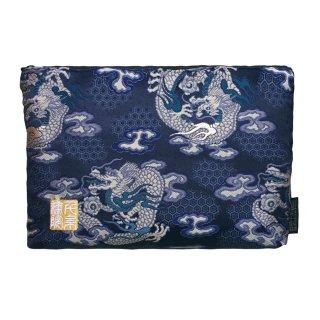 千糸繍院 西陣織 金襴 ポーチ/御朱印帳ケース(裏地付き) 藍翔龍(Mサイズ)