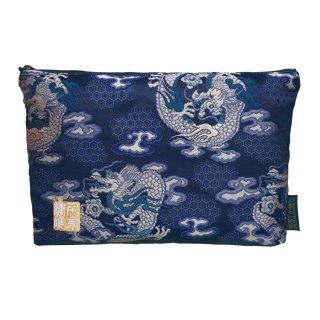 千糸繍院 西陣織 金襴 ポーチ/御朱印帳ケース(裏地付き) 藍翔龍 (Lサイズ)