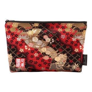 千糸繍院 西陣織 金襴 ポーチ/御朱印帳ケース(裏地付き) 紅扇桜 (Mサイズ)
