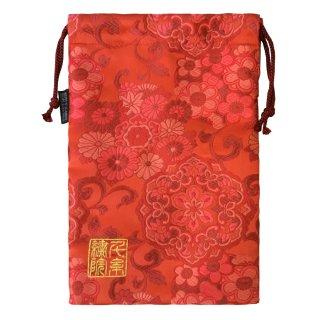 【真鍮ベル付き】千糸繍院 西陣織 金襴 巾着袋(裏地付き) 茜彩花紋 Lサイズ