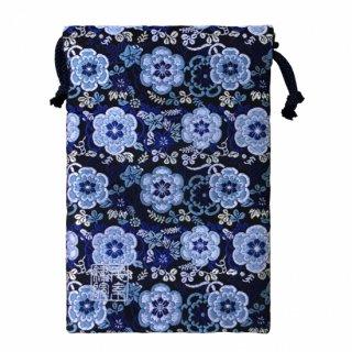 【真鍮ベル付き】千糸繍院 西陣織 金襴 巾着袋(裏地付き) 黒瑠璃彩花 Mサイズ