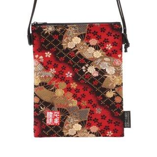 千糸繍院 西陣織 金襴 ポシェット/御朱印帳ショルダーバッグ(裏地付き) 紅扇桜(Mサイズ)