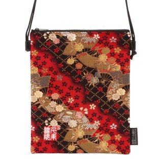 千糸繍院 西陣織 金襴 ポシェット/御朱印帳ショルダーバッグ(裏地付き) 紅扇桜(Lサイズ)