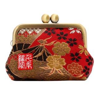 千糸繍院 西陣織 金襴 がま口 2.5寸角型マチ付き財布/小銭入れ(裏地付き) 紅扇桜