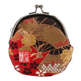 千糸繍院 西陣織 金襴 がま口 2.5寸丸型財布/小銭入れ(裏地付き) 紅扇桜