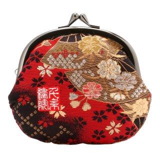 千糸繍院 西陣織 金襴 がま口 3.5寸丸型財布/小銭入れ(裏地付き) 紅扇桜