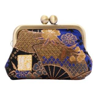 千糸繍院 西陣織 金襴 がま口 2.5寸角型マチ付き財布/小銭入れ(裏地付き) 青藍扇桜