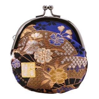 千糸繍院 西陣織 金襴 がま口 2.5寸丸型財布/小銭入れ(裏地付き) 青藍扇桜