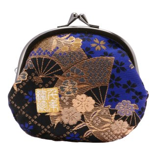 千糸繍院 西陣織 金襴 がま口 3.5寸丸型財布/小銭入れ(裏地付き) 青藍扇桜