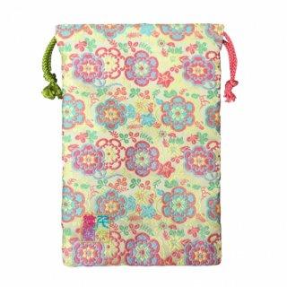 【真鍮ベル付き】千糸繍院 西陣織 金襴 巾着袋(裏地付き) 檸檬彩花 Mサイズ