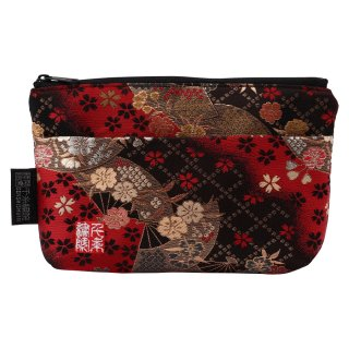 千糸繍院 西陣織 金襴 ポーチ(裏地付き) 紅扇桜 (Sサイズ)