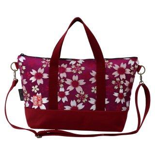千糸繍院 西陣織 金襴 ショルダーバッグ(裏地付き)  江戸紫大桜