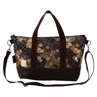 千糸繍院 西陣織 金襴 ショルダーバッグ(裏地付き)  煤扇桜