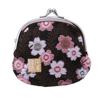千糸繍院 西陣織 金襴 がま口 3.5寸丸型財布/小銭入れ(裏地付き) 黒桃桜