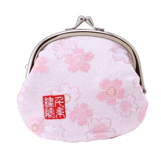 千糸繍院 西陣織 金襴 がま口 3.5寸丸型財布/小銭入れ(裏地付き) 白桃桜