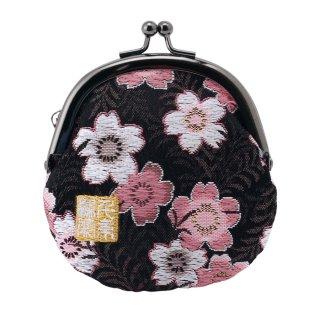 千糸繍院 西陣織 金襴 がま口 2.5寸丸型財布/小銭入れ(裏地付き) 黒桃桜