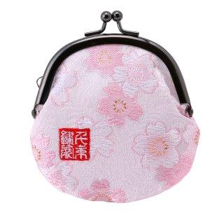 千糸繍院 西陣織 金襴 がま口 2.5寸丸型財布/小銭入れ(裏地付き) 白桃桜
