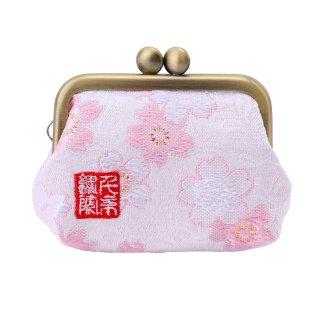 千糸繍院 西陣織 金襴 がま口 2.5寸角型マチ付き財布/小銭入れ(裏地付き) 白桃桜
