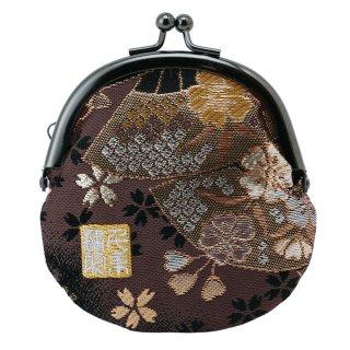 千糸繍院 西陣織 金襴 がま口 2.5寸丸型財布/小銭入れ(裏地付き) 煤扇桜