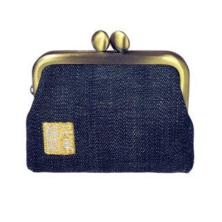 千糸繍院 がま口 2.5寸角型マチ付き財布/小銭入れ(裏地付き) デニム3