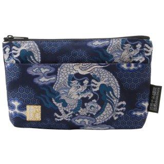 千糸繍院 西陣織 金襴 ポーチ(裏地付き) 藍翔龍 (Sサイズ)