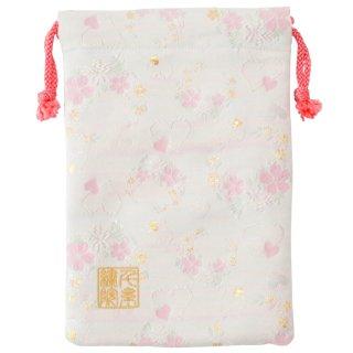 【真鍮ベル付き】千糸繍院 西陣織 金襴 巾着袋(裏地付き) 白愛桜 Mサイズ