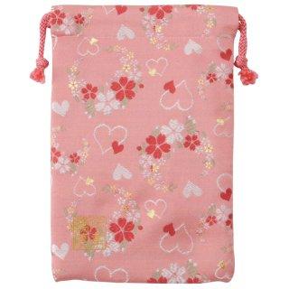 【真鍮ベル付き】千糸繍院 西陣織 金襴 巾着袋(裏地付き) 桃愛桜 Mサイズ