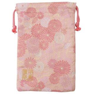 【真鍮ベル付き】千糸繍院 西陣織 金襴 巾着袋(裏地付き) 桃笹菊 Mサイズ