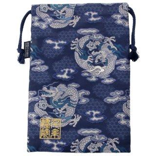 【真鍮ベル付き】千糸繍院 西陣織 金襴 巾着袋(裏地付き) 藍翔龍 Lサイズ