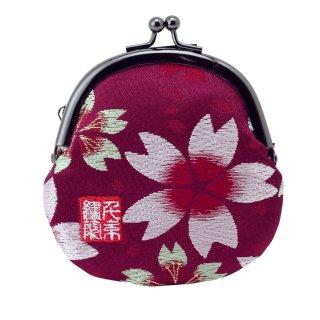 千糸繍院 西陣織 金襴 がま口 2.5寸丸型財布/小銭入れ(裏地付き) 江戸紫大桜