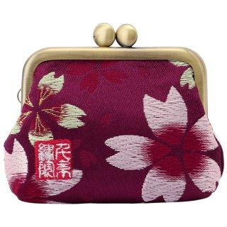 千糸繍院 西陣織 金襴 がま口 2.5寸角型マチ付き財布/小銭入れ(裏地付き) 江戸紫大桜