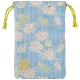 【真鍮ベル付き】千糸繍院 西陣織 金襴 巾着袋(裏地付き) 空色菊華 Mサイズ
