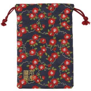 【真鍮ベル付き】千糸繍院 西陣織 金襴 巾着袋(裏地付き) 紺雪輪椿 Mサイズ